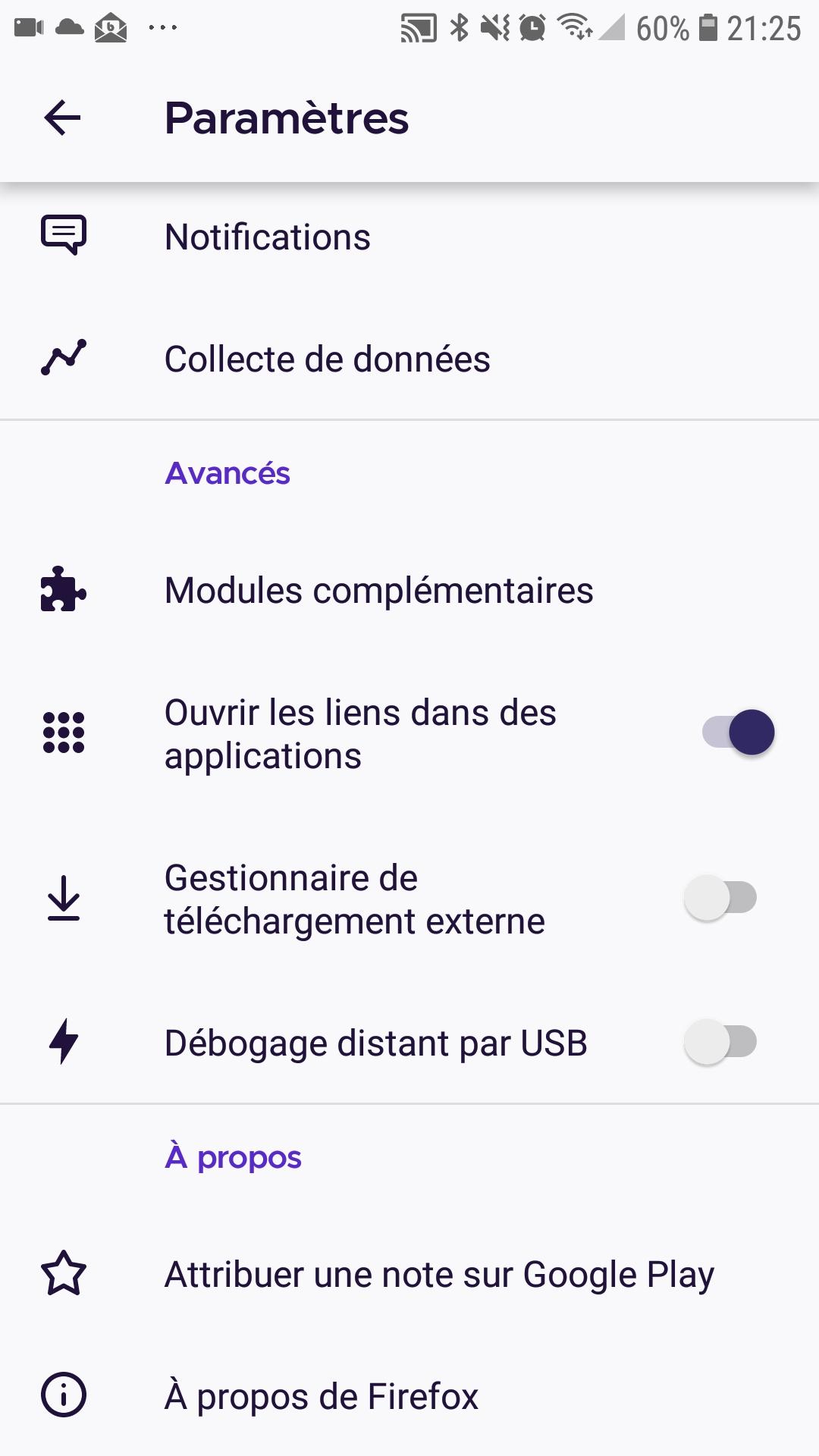"""Paramètres """"Les liens s'ouvrent dans des applications natives"""" dans Firefox pour Android"""