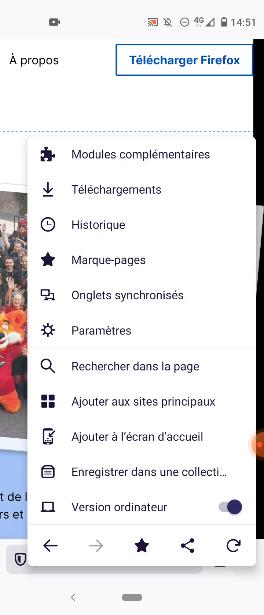 """Paramètres """"la version ordinateur dans Firefox pour Android"""