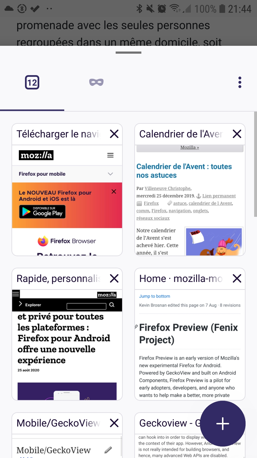 Panneau des onglets de Firefox pour Android Nightly