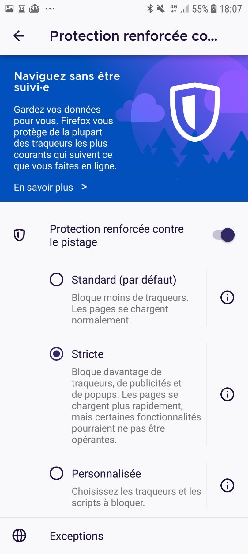 Paramètres de la protection renforcée contre le pistage de Firefox pour Android