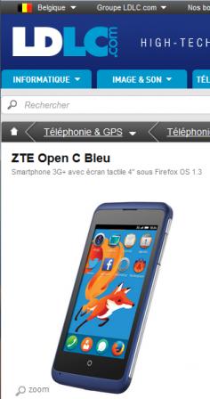 2014-08-20 : ZTE Open C Bleu sur ldlc.be