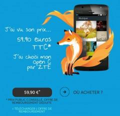 ZTE Open C à 60 euros dont 20 euros remboursés
