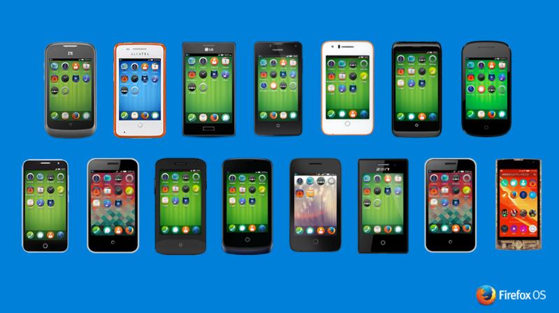 Quelques-uns des 20 téléphones Firefox OS commercialisés