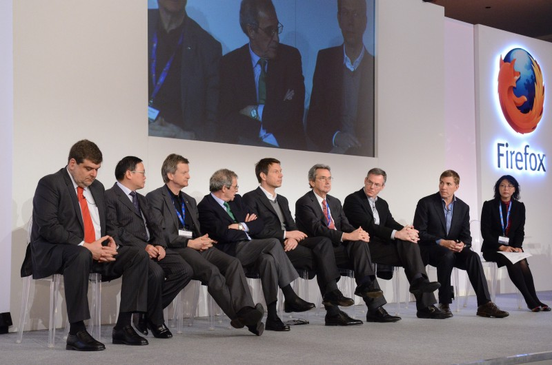 PDG sur scène lors de la conférence de presse, MWC 2013, Barcelone