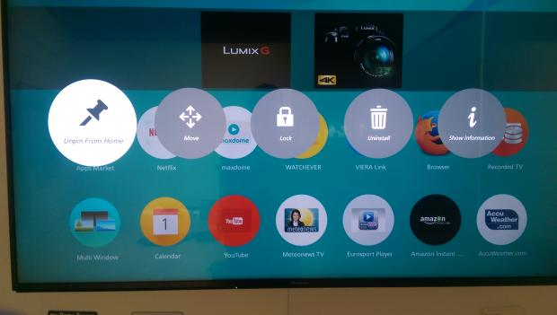 App pinning in Panasonic's My Home Screen 2.0 is easy