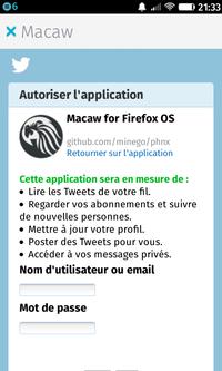Macaw : autorisation Twitter