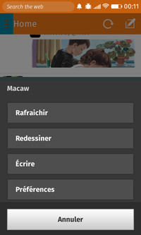 Macaw menu