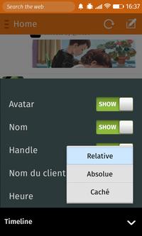 Macaw > Préférences > Timeline > sous-menu Heure