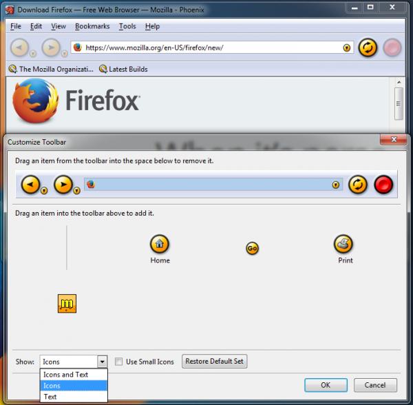 Phoenix 0.1 & customize toolbar