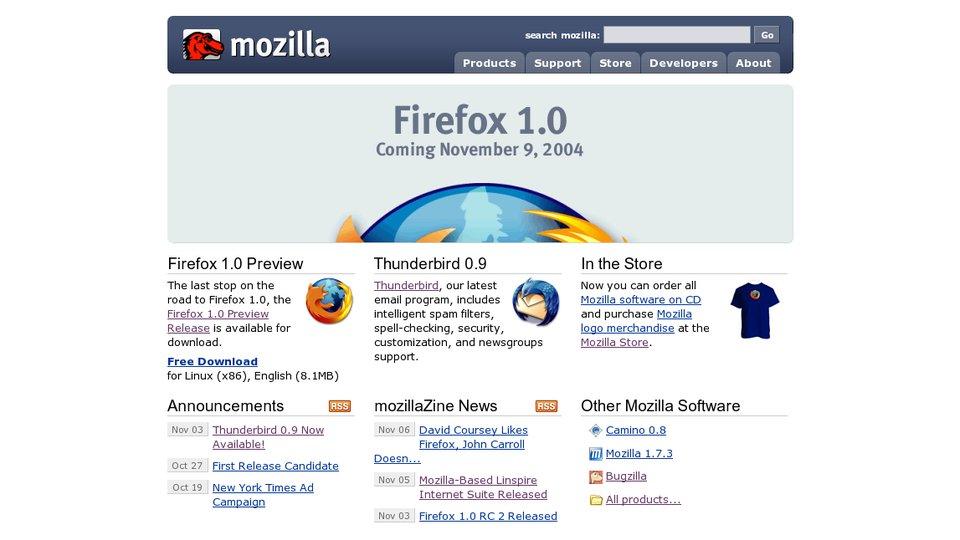 Firefox 1.0 startpage