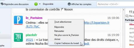 Thunderbird 52 : Twitter > menu contextuel > Copier l'adresse du tweet et Aimer