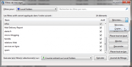 Thunderbird 52 : filtres des messages > copier