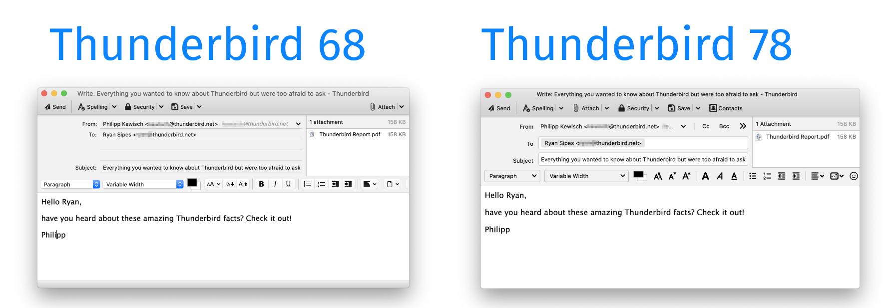 Comparaison de la fenêtre de rédaction entre la version 68 et la 78