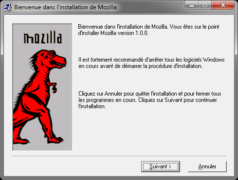 Bienvenue dans l'installation de Mozilla 1.0 fr