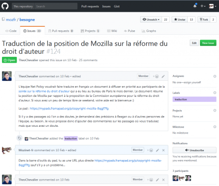 Issue GitHub pour une traduction