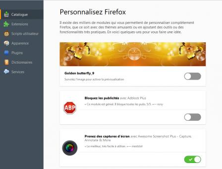 Firefox 48 : nouveau catalogue dans le gestionnaire de modules complémentaires