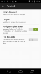 Firefox 48 : Paramètres > Général