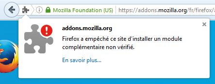 Firefox 48 : extension bloquée car non vérifiée