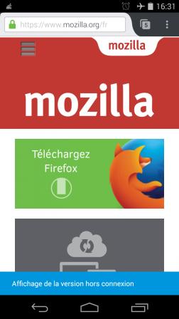 Firefox 49 pour Android : Affichage de la version hors connexion