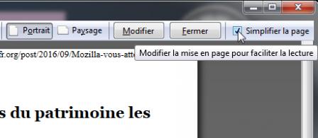 Firefox 49 : aperçu avant impression : simplifier la page
