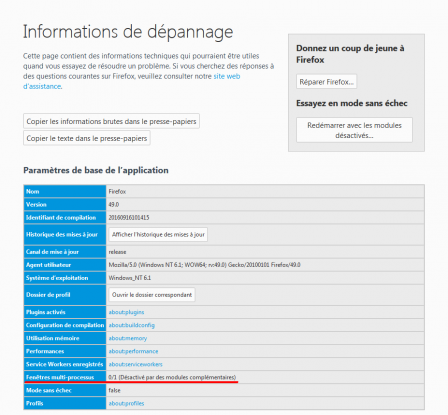 Firefox 49 : informations de dépannage : Fenêtres multi-processus : 0/1 (désactivé par des  modules complémentaires)