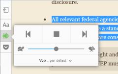 Firefox 49 : mode lecture : en cours de lecture à voix haute