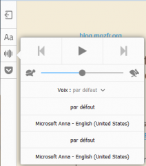 Firefox 49 Windows : mode lecture : voix