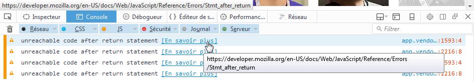 Firefox 49 : DevTools : Console JS : En savoir plus : Référence MDN