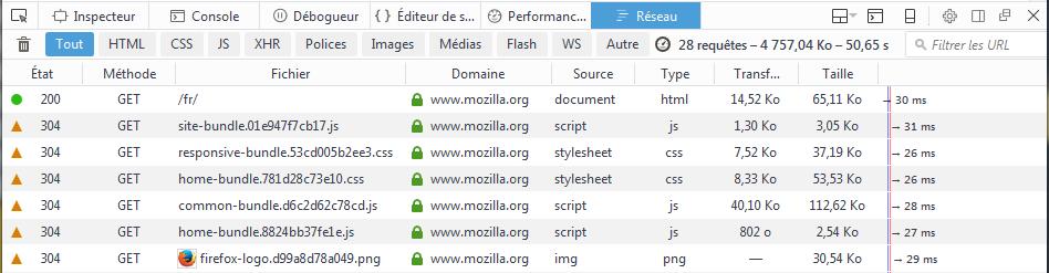 Firefox 49 : DevTools : Réseau : colonne Source