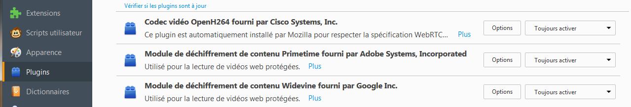 Firefox 49 : plugins : modules de déchiffrement de contenu