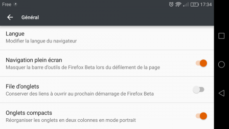 Mozilla Firefox 53 pour Android : paramètre des onglets compacts