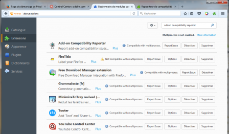 Firefox 54 : Gestionnaire de modules_complementaires : Multiprocess is not enabled