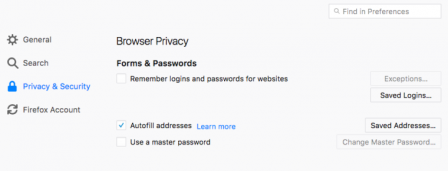 Firefox 56 en-US : options pour l'auto-remplissage des formulaires