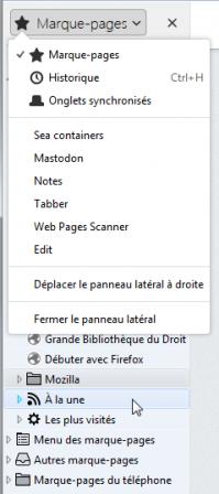 Firefox 56 : panneau latéral avec marque-pages