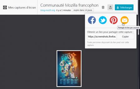 Firefox 56 : Firefox Screenshots : partager