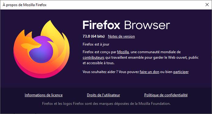Boîte À propos de Firefox 73