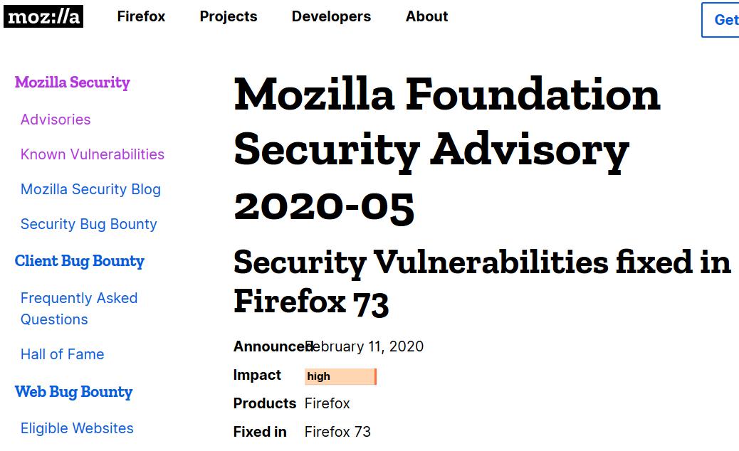 Bulletin de sécurité élevée de Firefox 73