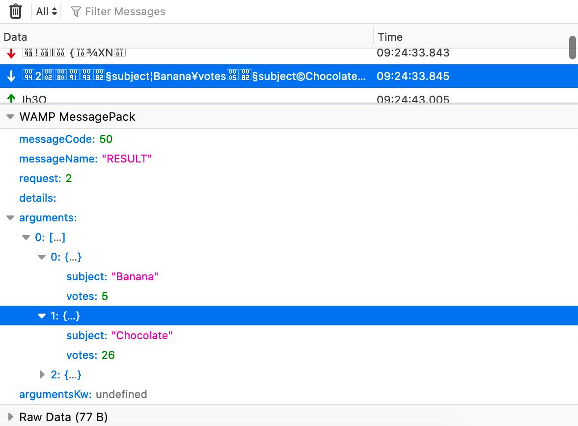 Inspecteur de WebSockets : messages au format WAMP