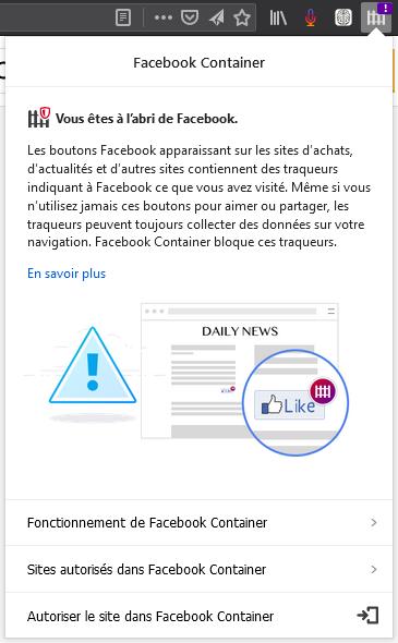 Facebook Container : panneau de bouton