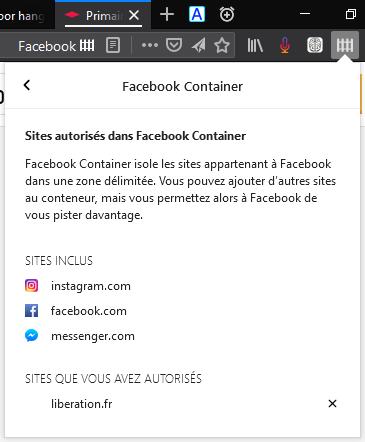 Facebook Container : sites autorisés