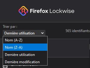 Lockwise dans Firefox 74 : Trier par nom (Z-A)