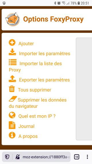 Options FoxyProxy dans Firefox pour Android Nightly