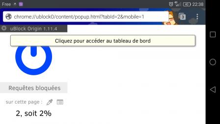 Accès au tableau de bord de uBlock Origin sur Firefox dans Android