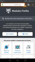 Page d'accueil d'AMO pour mobile avec « Bloquer les publicités »