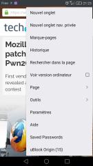 Menu de Firefox pour Android avec entrée uBlock Origin et compteur de requêtes bloquées