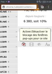 Contrôler les pop-ups dans uBlock Origin dans Firefox pour Android