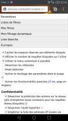 Paramètres de uBlock Origin dans Firefox pour Android