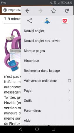 Mozilla Firefox pour Android : menu avec icônes TweetCaster et Pocket