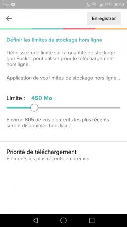 Android : paramètres de stockage de l'appli Pocket