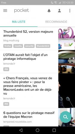 Android : Ma liste dans l'appli Pocket